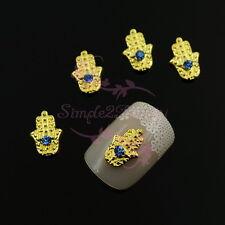 20 Blue Rhinestones Hamsa Plam Gold Tone Metal Alloy Charms 3D Nail Art Jewelry