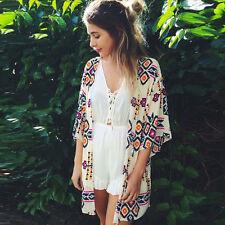 Women Chiffon Kimono Cardigan Printed Shawl Coats Tops Beach Cover Up Blouse LOT