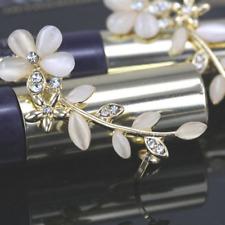 Women 2 PC Crystal Rhinestone Flower Cuff Ear Bone Clips Non-Pierce Earrings