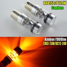 2x BAU15S 7507 PY21W 1156PY AMBER 12V-24V CREE CANBUS 100W TURN INDICATOR BULB