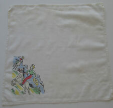 Vintage Childs White Batiste Hankie Cowboys Horses Mountains Pine Trees 1950s