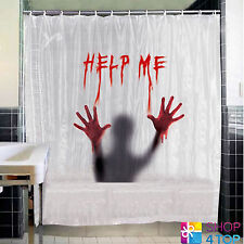 HELP ME BATH SHOWER CURTAIN WHITE BATHROOM BLOOD HALLOWEEN NOVELTY GIFTS NEW