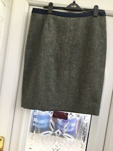 Boden Size 16R British Tweed  Grey/Green Pencil Skirt Hardly Worn Good Condition
