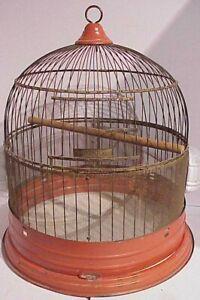 VINTAGE MID CENTURY RETRO ORANGE AND BRASS WIRE HENDRYX BEEHIVE BIRD CAGE