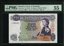 MAURITIUS, BANK OF MAURITIUS 50 RUPEES 1967 PMG 55 ABOUT UNCIRCULATED  P 33c