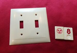 1 Ivory Vtg Ribbed Deco 2 Gang Double Switch Plate Lined Cover - RJ8