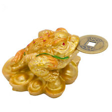 Mini Feng Shui Three Legged Money Frog Fortune Lucky Toad with Coin Resin Craft