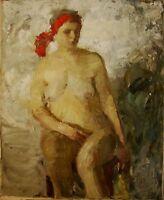 Russian Ukrainian Oil Painting postimpressionism nude figure girl woman