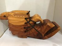 Hand-Carved Wooden Shoe Wood Hobo Boot Planter Vase Signed Vintage