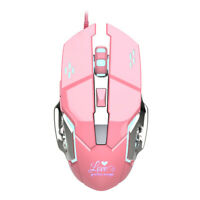 Cute Pink Wired Gaming Mouse LED Adjustable DPI 6 Buttons for Female Gamers L4O8