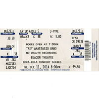 TREY ANASTASIO Concert Ticket Full Stub BEACON THEATRE 12/11/14 NEW YORK PHISH