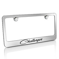 Dodge Challenger Classic Chrome Brass Metal License Plate Frame, Licensed