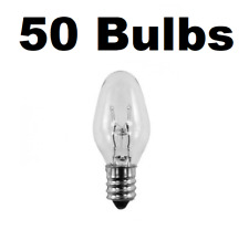Box of 50 Night Light / Candle Lamp Bulbs -7 watt, C7, Clear, Candelabra (7C7C)