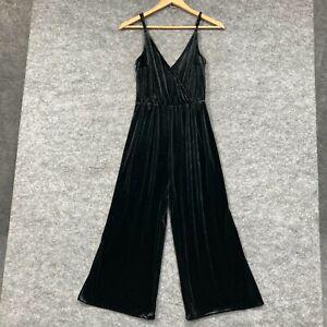H&M Womens Velvet Jumpsuit Size 6 Black Wide Leg Sleeveless V-Neck 149.18