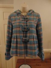 Ladies blue, pink & cream check pattern hooded coat Size 10 - Animal - 70% Wool