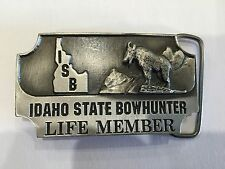 Vintage Men's Belt Buckle - Idaho State BowHunter By Sid Bell Pilgrim Pewter Co.
