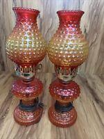 """Vintage Hobnail Oil Kerosene Electric Lamp Set Of 2. 15"""" Tested, Working"""