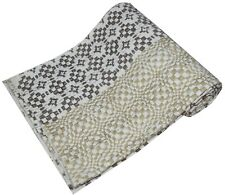 Indian Hand Block Print Kantha Quilt Throw Twin Patchwork Cotton Blanket Gudari