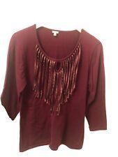 Women's Reba Long Sleeve Knit Top w/Satin Fringe XL