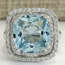 6.90 Carat Genuine Aquamarine 18K Solid White Gold Luxury Diamond Ring
