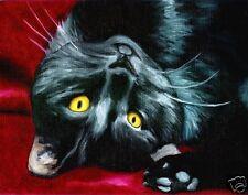 BLACK CAT DSH Art PRINT of Oil Painting by VERN