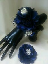 Ladies wrist corsage & Hair clip/ Brooch Navy Blue & Ivory.Pearls satin Flower