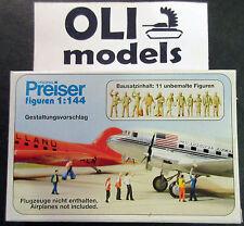1/144 Airline & Airport Personnel (11 Unpainted) FIGURES SET - Preiser 77103