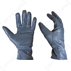 Original German Army Leather Gloves - Winter Driving Smart Surplus Military Grey