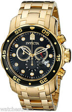 Invicta 0072 Pro Diver Black Dial Gold Plated Chronograph Men's Watch