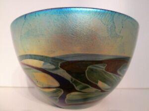 MICHAEL HARRIS SIGNED 'NIGHTSCAPE' Isle of Wight Studio/Art Glass Tapered Bowl