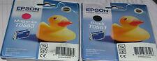 Genuine Epson Cartuchos de Tinta T0551 Negro y T0553 Magenta