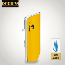 COHIBA Yellow 3 Torch Jet Flame Cigarette Cigar Lighter Cigare Aansteker W/Punch