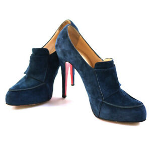 CHRISTIAN LOUBOUTIN Blue Lapono Suede Leather Ankle Boots Heels 37.5 / 7.5 Auth