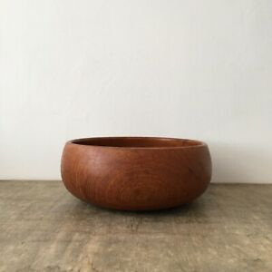 Vintage Wooden Fruit Bowl Mid Century Round Circular Decorative Boho