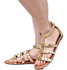 New Women FC85 Black White Gold Studded Roman Gladiator Low Heel Sandals 5 to 10