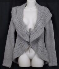 ElsaManda Lg Grey Cardigan Sweater Woman Alpaca Wool Italy Stone Tie Closure
