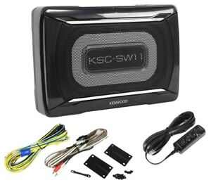 Kenwood KSC-SW11 Active Amplified Under Seat Powered Subwoofer With Wiring Kit