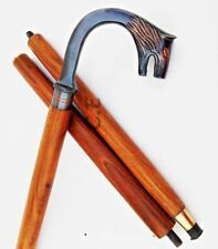Men's Wooden Walking Stick Brass Wolf FOx Head Cane