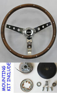 "1963-1972 Wood Steering Wheel 13 1/2"" for Jeep Jeepster Commando Wagoneer"