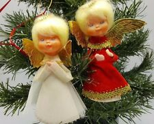 Leewards Japan Angel Christmas ornaments Lot 2 Cone Red White Praying 5""