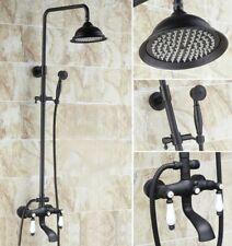 Oil Rubbed Bronze Dual Ceramic Handle Rain Shower Faucet Set Tub Spout Zhg143
