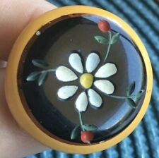 Bakelite 2-Color With Carved Flower Button