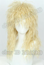 80s Mullet Wig Disco Rock Retro Cosplay Heavy Metal Fancy Dress Blonde Wig Women