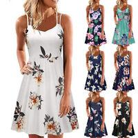 Womens Summer Strappy Floral Mini Dresses V-neck Sleeveless Beach Swing Sundress