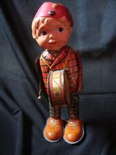 Old vintage Winding Tin & Celluloid Musician Boy toy from Japan 1930