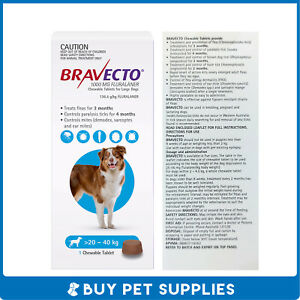 Bravecto Blue For Dogs Large 20-40kg 1 Pack Chew