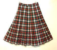 Pendleton Vintage 100% Wool Full Pleated Dress Royal Stewart Tartan Skirt