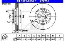 ATE Juego de 2 discos freno 280mm ventilado para FIAT SEDICI SUZUKI