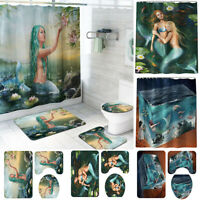 Bathroom Beach Lid Toilet Seat Cover Pedestal Rug Curtain Set Shower Bath Mat
