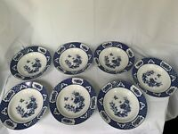 Imari Blossom W/Butterflies 7 Soup Bowls Blue White